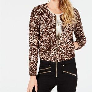 GUESS Women's Leopard-Print Bomber Jacket   XL